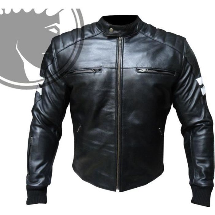 blouson moto homme cuir biker retro noir l achat vente. Black Bedroom Furniture Sets. Home Design Ideas