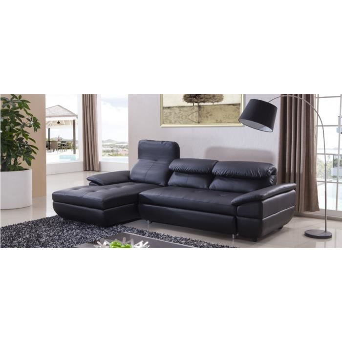 canap angle convertible gauche cuir noir mezzio achat vente canap sofa divan cuir. Black Bedroom Furniture Sets. Home Design Ideas