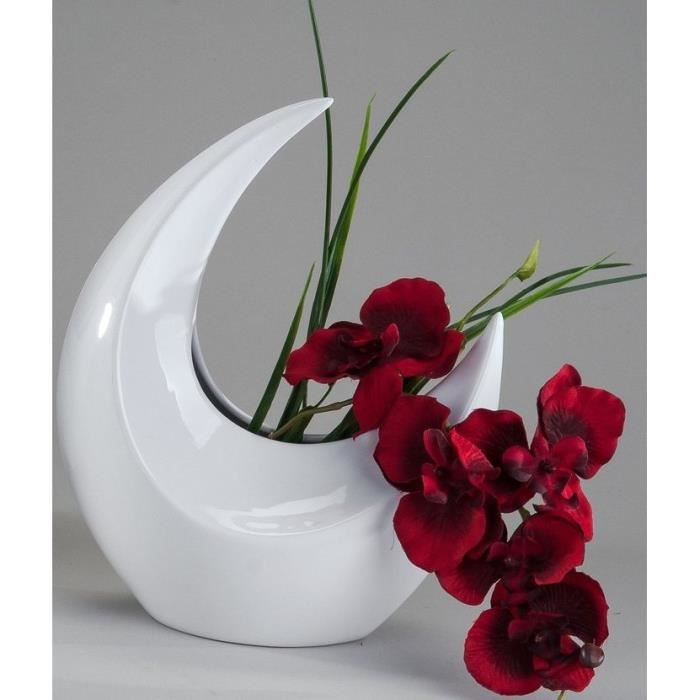 vase design blanc 40 cm achat vente vase soliflore. Black Bedroom Furniture Sets. Home Design Ideas