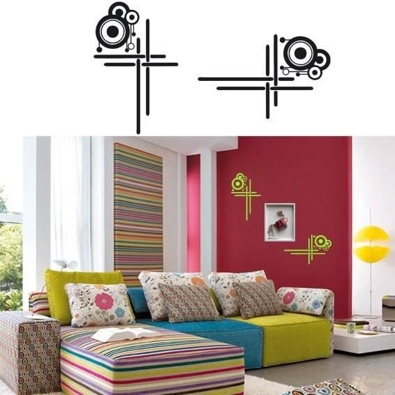 sticker mural cadre moderne sticker noir achat vente stickers cdiscount. Black Bedroom Furniture Sets. Home Design Ideas