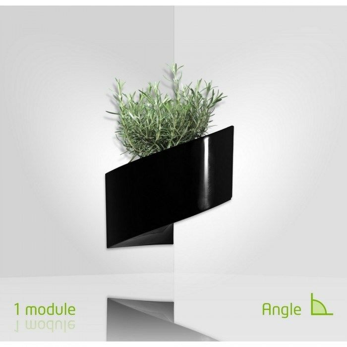 Modul 39 green pot pour plantes mural design int rieur ext rieur noir achat vente for Pot de plante design