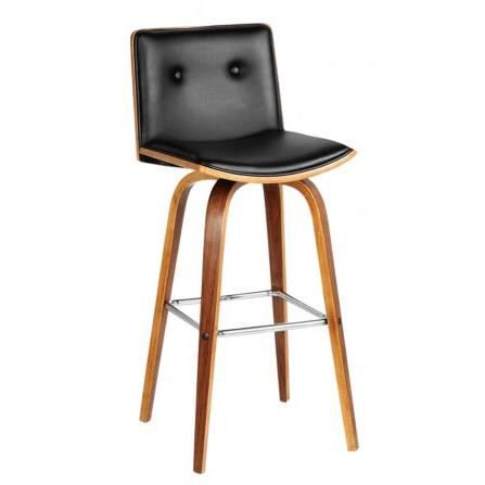 tabouret de bar en bois et similicuir noir achat vente. Black Bedroom Furniture Sets. Home Design Ideas