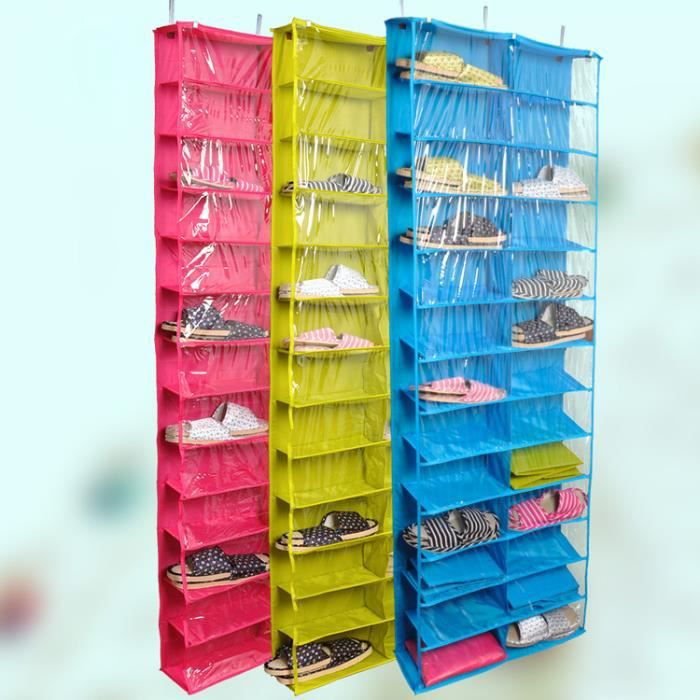 porte chaussures housse de rangement pliable transparent 26 cases suspendu rouge achat vente. Black Bedroom Furniture Sets. Home Design Ideas