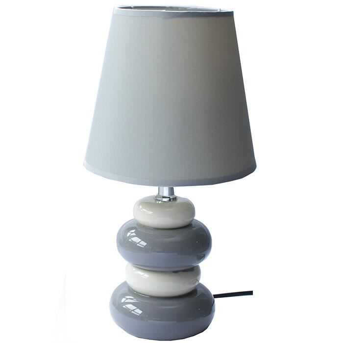 lampe de chevet galets 31 cm gris et blanc achat. Black Bedroom Furniture Sets. Home Design Ideas