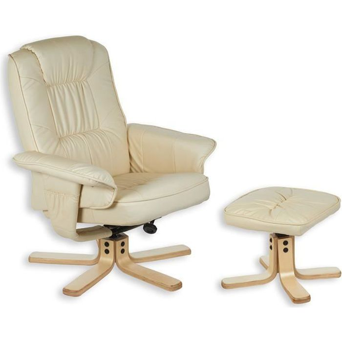 fauteuil avec repose pieds charly beige achat vente. Black Bedroom Furniture Sets. Home Design Ideas
