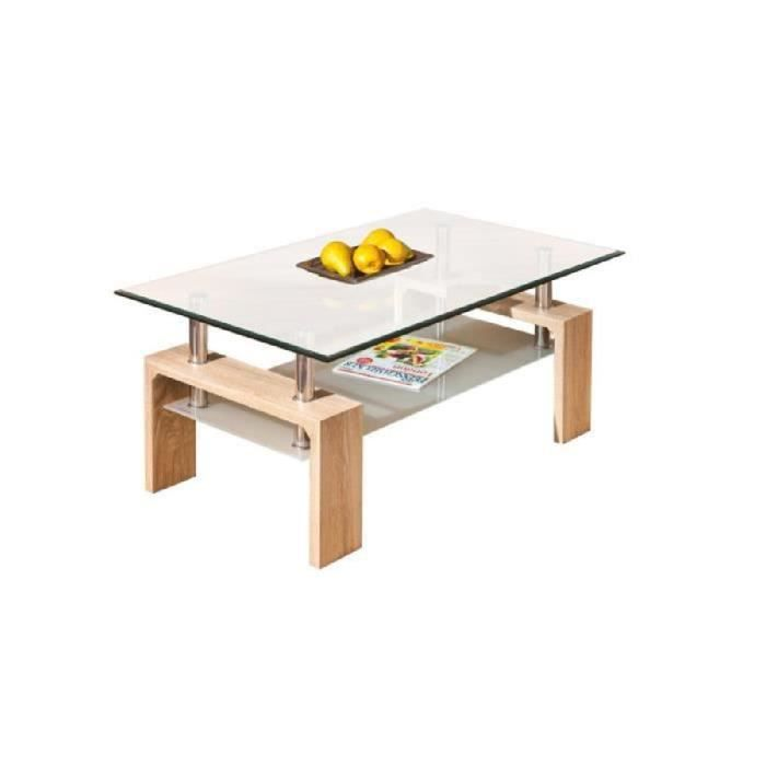 Table basse rectangulaire moderne plateau verre sa achat - Plateau verre table basse ...