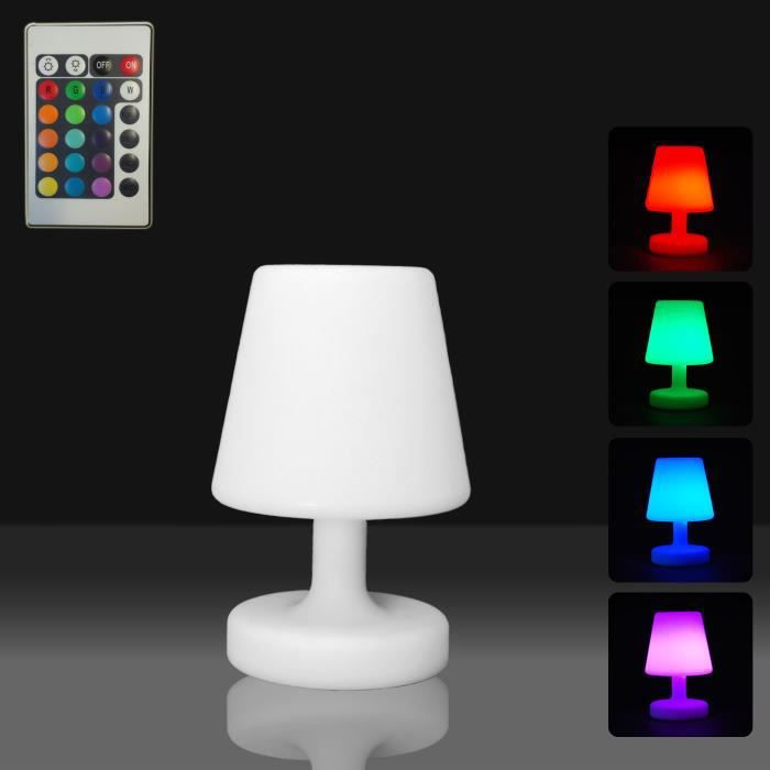 lampe de table led et t l commande 16 couleurs achat vente lampe de table led et t l. Black Bedroom Furniture Sets. Home Design Ideas