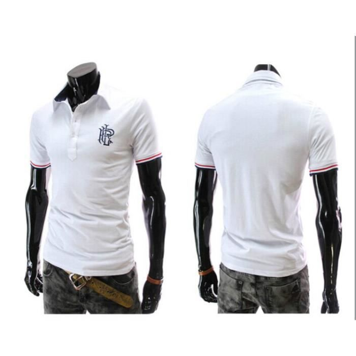 polo shirt homme col roul chemise manche courte blanc blanc achat vente polo cdiscount. Black Bedroom Furniture Sets. Home Design Ideas