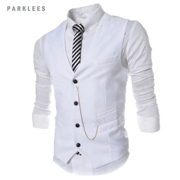 gilet costume homme slim fit veste sans manche homme blanc achat vente gilet cardigan. Black Bedroom Furniture Sets. Home Design Ideas