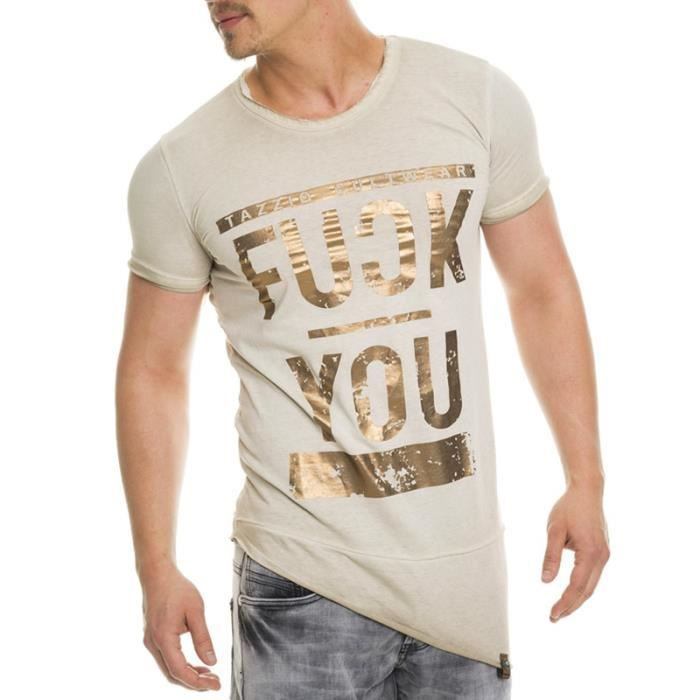 T-shirt fashion homme T-shirt 303 beige pas