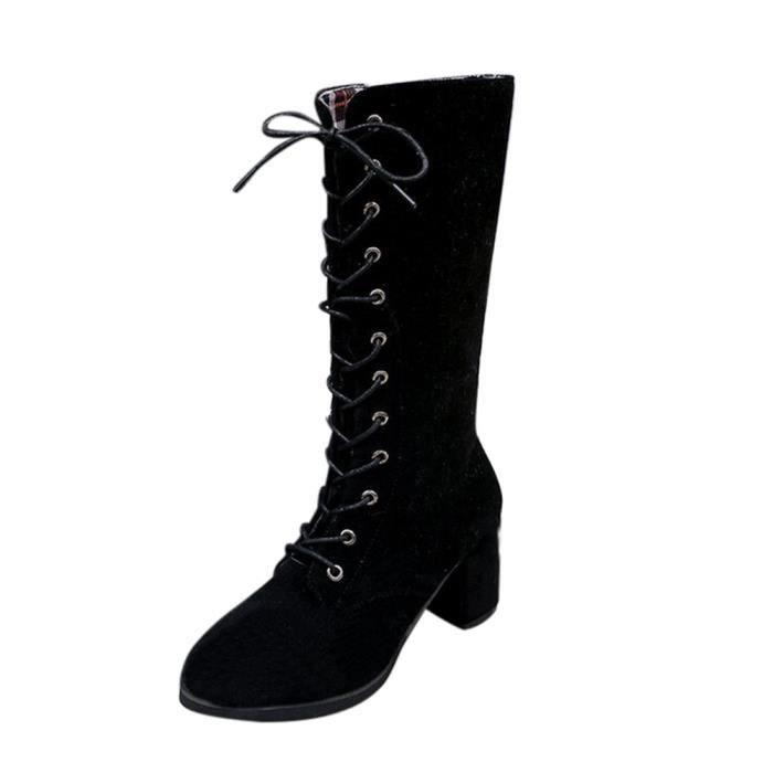 BOTTE Bottes d'hiver à talons hauts Knight Boots Femmes