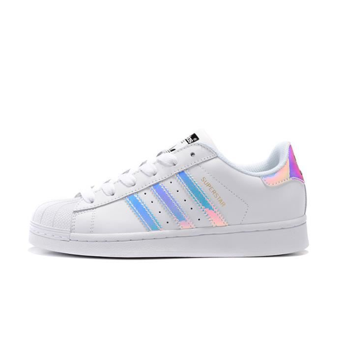 Baskets Adidas Superstar Junior Chaussures Base Femme Blanc/Laser