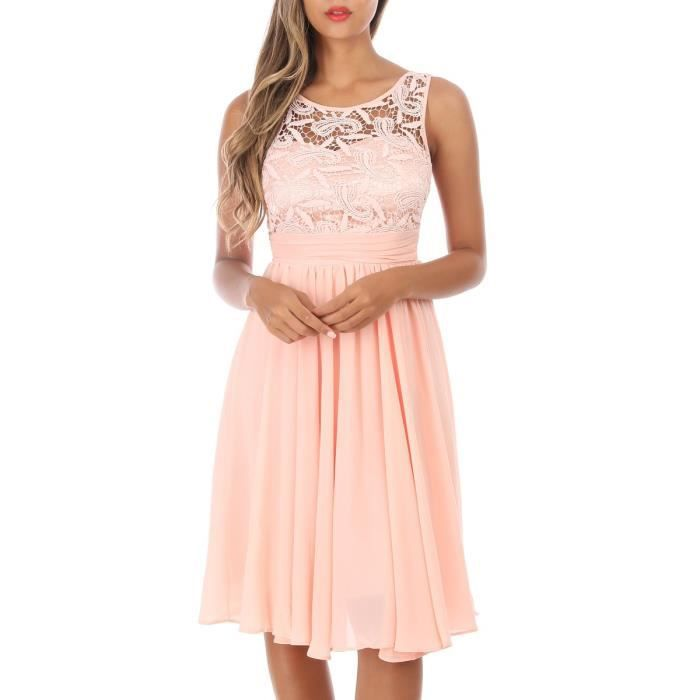Robe Patineuse Rose A Bustier Dentelle Rose Achat Vente Robe Cdiscount