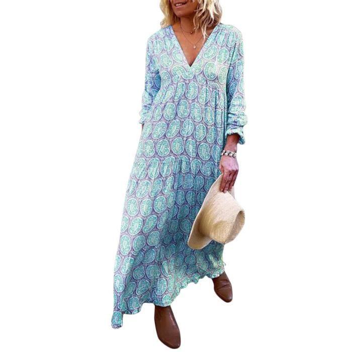 Minetom Femme Robe Longue Bohème Manches