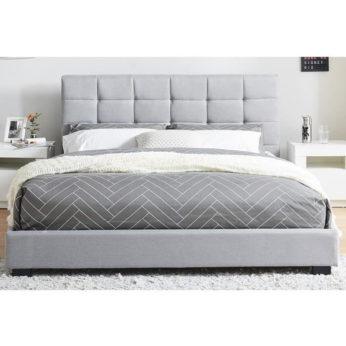 lit adulte avec t te de lit capitonn e en tissu gris clair sommier latte 140x190. Black Bedroom Furniture Sets. Home Design Ideas