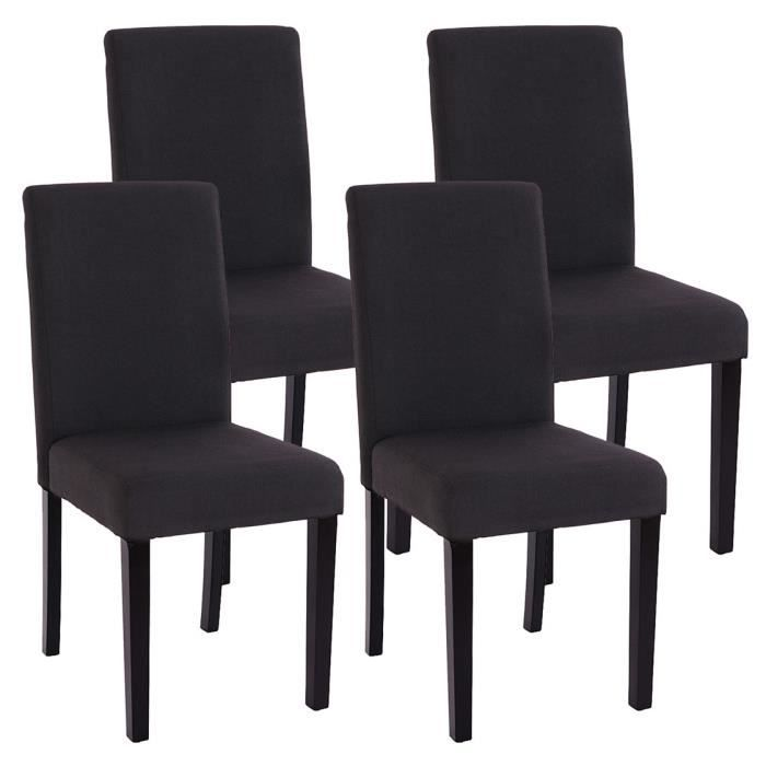 lot de 4 chaises de salle manger fauteuil li achat vente chaise noi. Black Bedroom Furniture Sets. Home Design Ideas