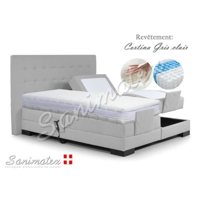 lit electrique boxspring 140x190 kilimanjaro amazonia taupe achat vente lit complet lit. Black Bedroom Furniture Sets. Home Design Ideas