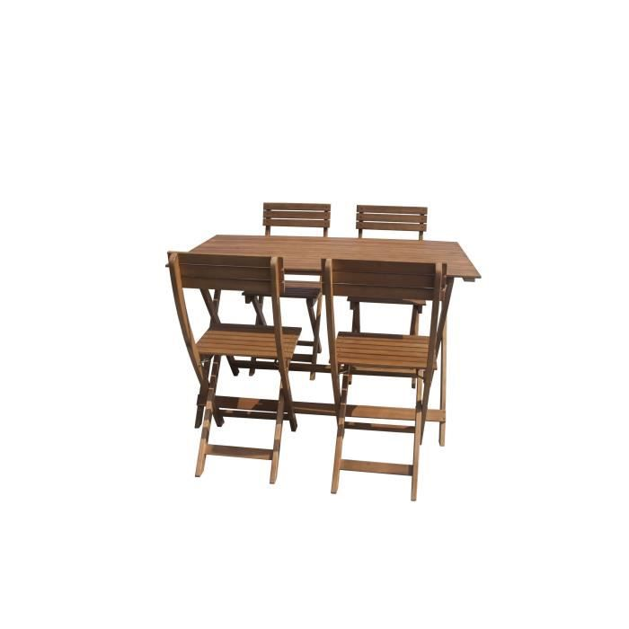 Ensemble de mobilier de jardin pliable 4 places - 1 table et 4 ...
