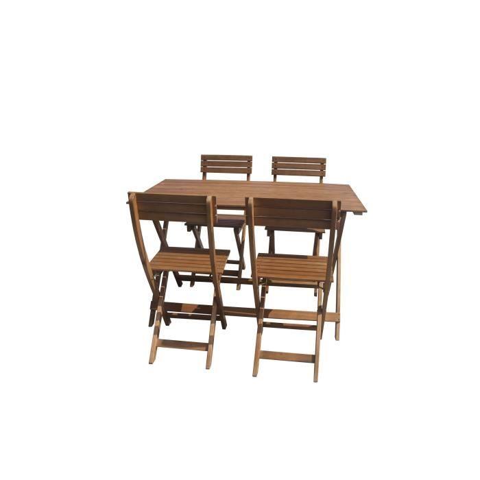 Ensemble repas de jardin pliable 4 places - table 120x70cm et 4 chaises -  En bois d\'eucalyptus