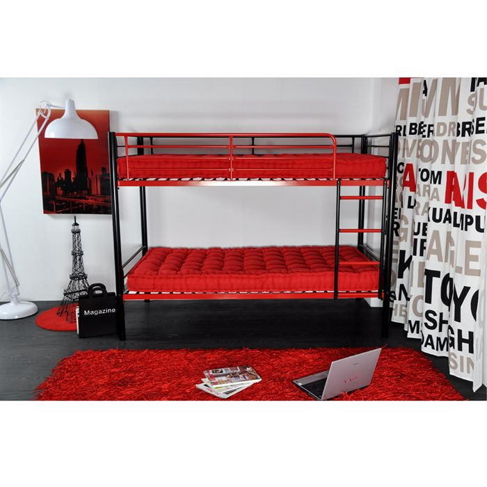 Lit superpos enfant 90 x 190 noir rouge achat vente lits superposes lit - Lit superpose 1 place ...