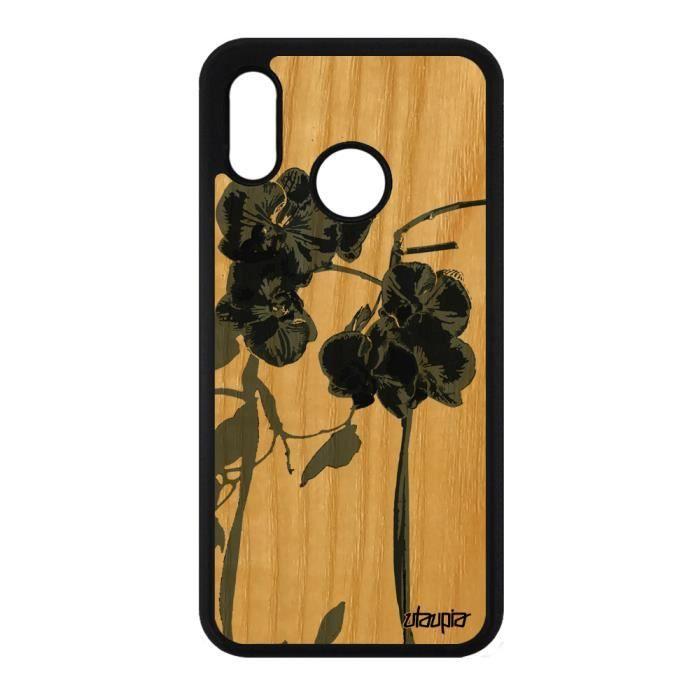 Coque en bois pour Huawei P20 Lite silicone orchidée fleur tropical peinture de