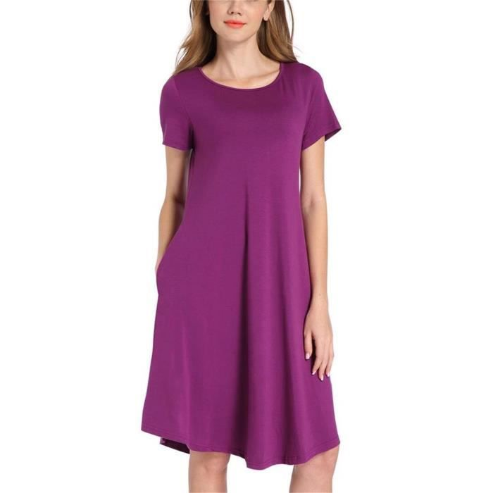 Womens Long Sleeve Casual Swing Dresses Flare Midi Dress Knee Length 2RDJRX Taille-38