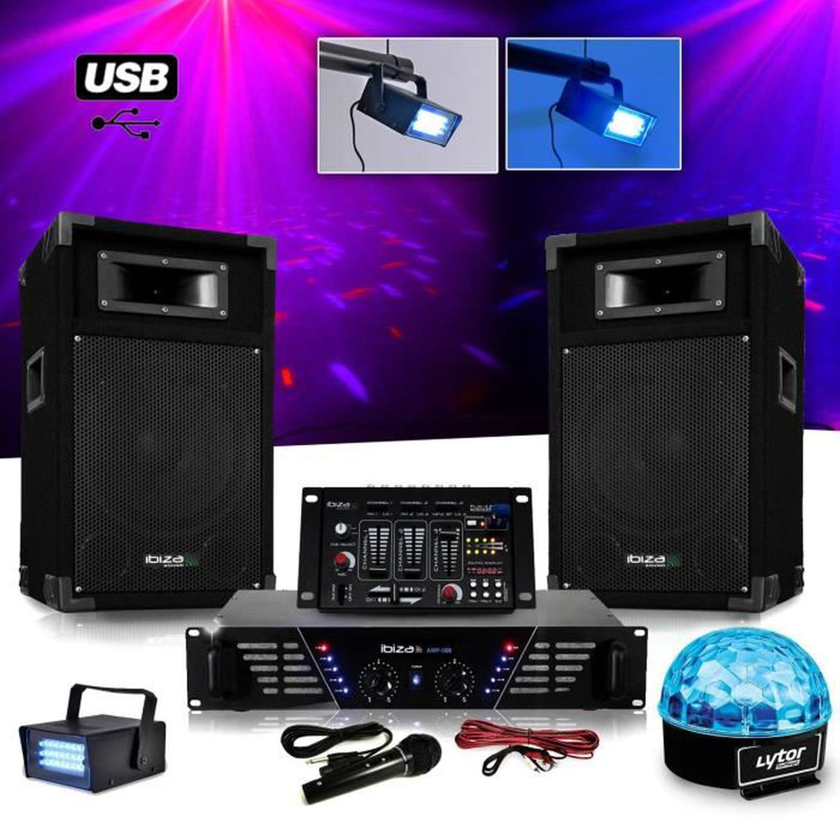 pack sono dj complet ampli enceintes 500w table de. Black Bedroom Furniture Sets. Home Design Ideas