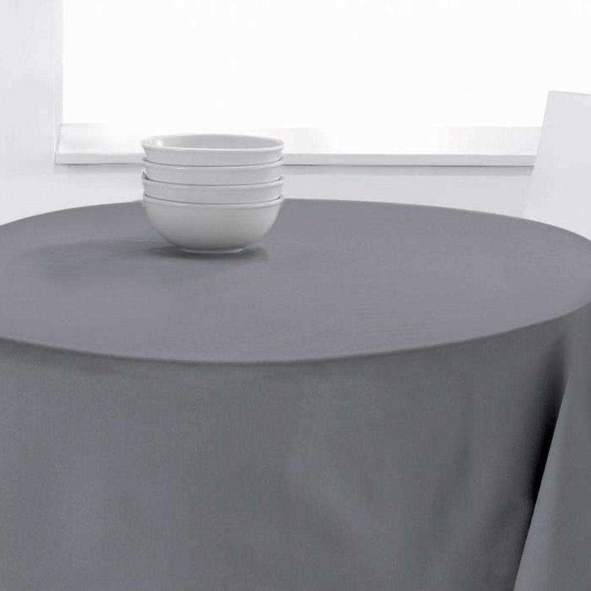 nappe ronde uni pes 140 cm les ateliers du linge diam tre 140 gris achat vente nappe de. Black Bedroom Furniture Sets. Home Design Ideas