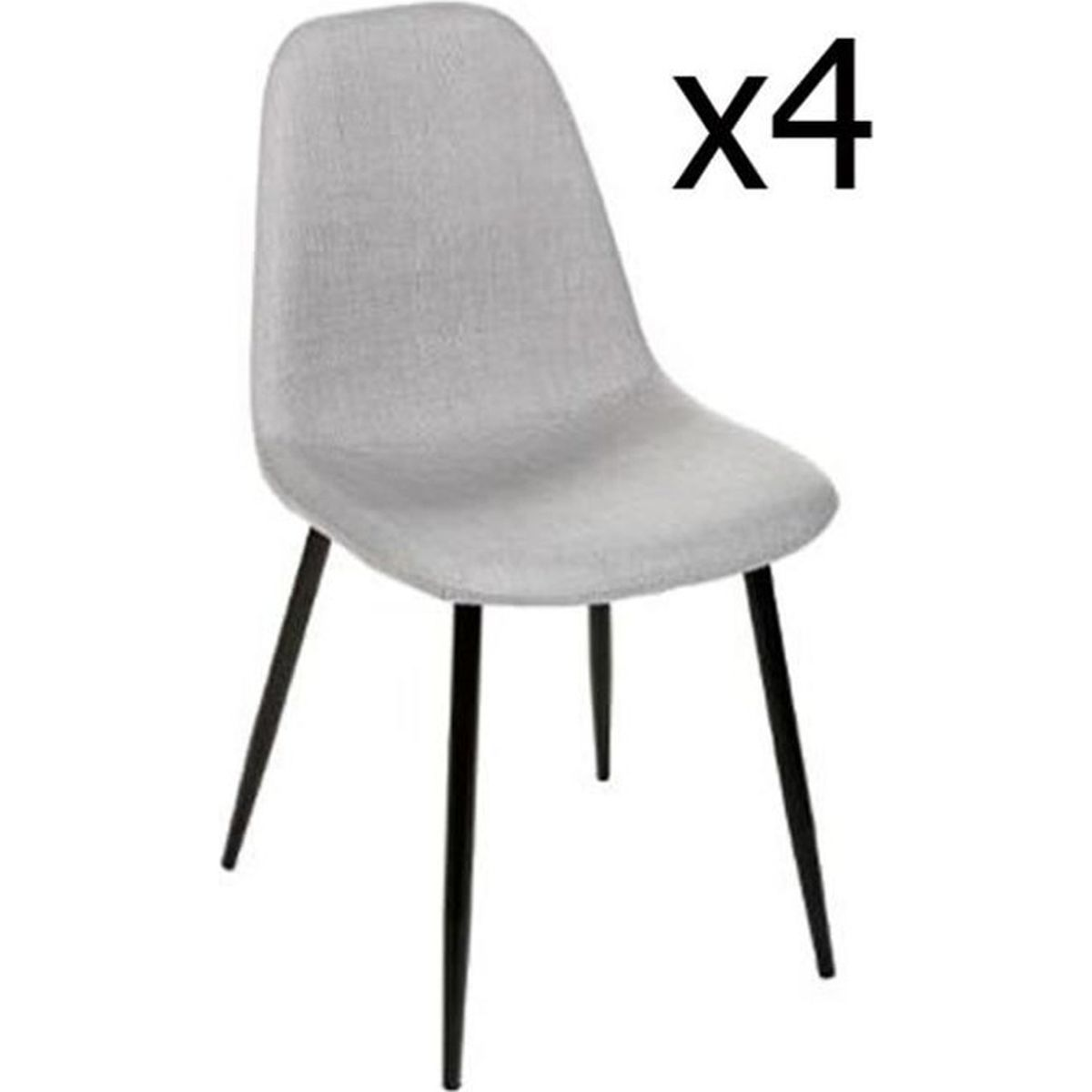 lot de 4 chaises en gris clair et pieds m tal noir l45 cm achat vente chaise gris cdiscount. Black Bedroom Furniture Sets. Home Design Ideas