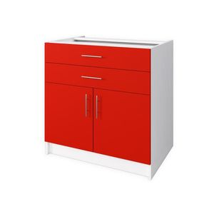 ELEMENTS BAS OBI Meuble bas de cuisine L 80 cm - Rouge mat