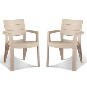 de deux ALLIBERT Achat Lot Cappuccino fauteuils Vente DEH29IW
