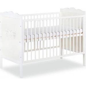 LIT BÉBÉ MARSELL Lit bébé à barreaux blanc avec motifs hibo