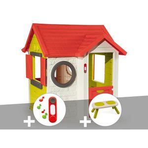 MAISONNETTE EXTÉRIEURE Cabane enfant My House - Smoby + Sonnette + Banc 1