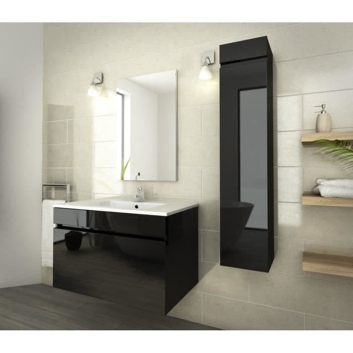 luna ensemble salle de bain simple vasque l 80 cm noir. Black Bedroom Furniture Sets. Home Design Ideas