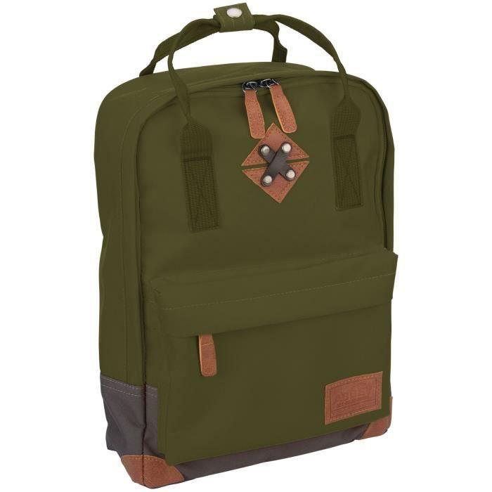 ABBEY Petit sac à dos en polyester 300T - Doublure 100% polyester - Dimensions 24 x 10 x 33 cm - Vert Kaki