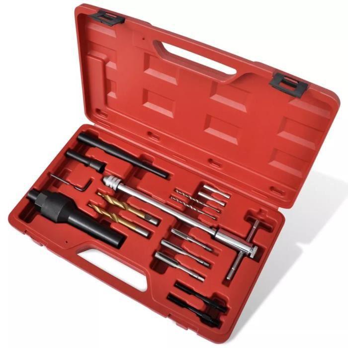 LIA Kit extracteur bougie de préchauffage et réparation de filetage 16 pcs