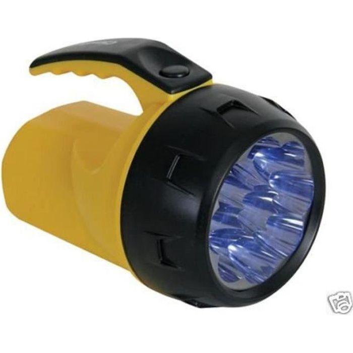 LAMPE TORCHE PUISSANTE ETANCHE - 9 LED -AVEC 4 PILES R6