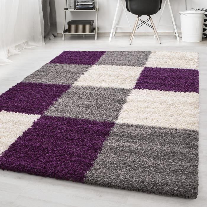 SHAGGY - Tapis de salon à Carreaux 160 x 230cm - 100% Polypropylène 30mm - Violet