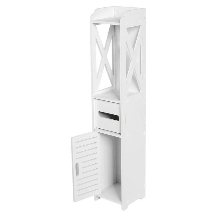 80*15.5*15.5CM Armoire Étagère de Rangement en Bois Pour Salle de Bains Meuble de Toilette Grille de Stockage HB039 -GRO