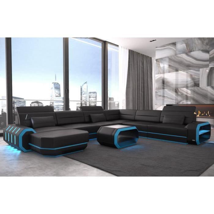 XXL Intérieur Design Cuir Rome Noir-Bleu Canapé Coin Canapé Cuir Canapé Designersofa LED Eclairage Lumière Appuie-Tête Etc