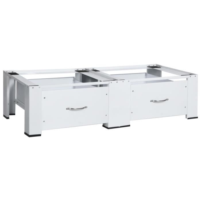 Socle double pour lave-linge et sèche-linge 127 x 54,5 x 32,5 cm -Socle Lave Linge Base de Sèche-linge avec tiroirs Blanc