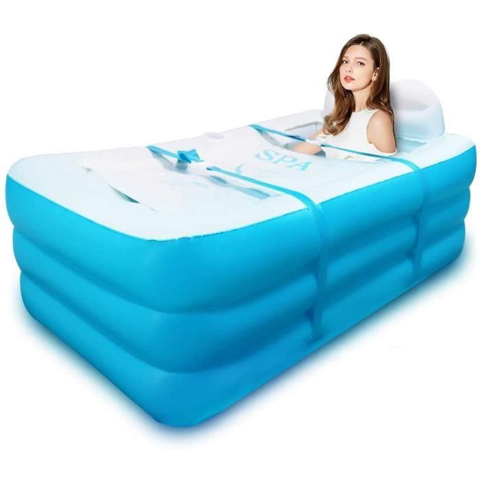 Baignoire gonflable - Spa pour adulte, enfant - Le plancher épais de la baignoire retient de chaleur - Piscine gonflable, bleu