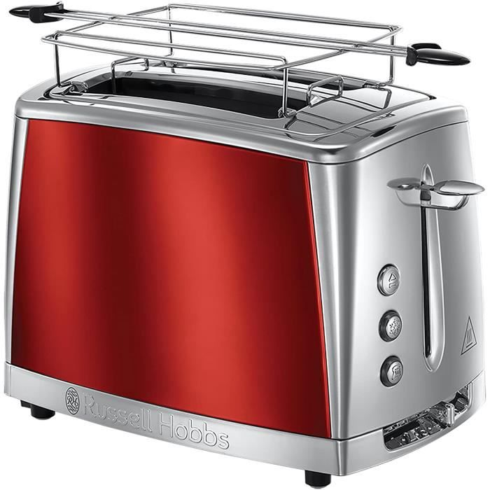 Russell Hobbs Toaster Grille-Pain, Cuisson Rapide, Contrôle Brunissage, Chauffe Viennoiserie - Rouge 23220-56 Luna