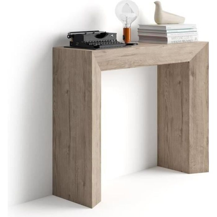 Mobili Fiver, Table console Giuditta, Chêne naturel, Mélaminé, Made in Italy