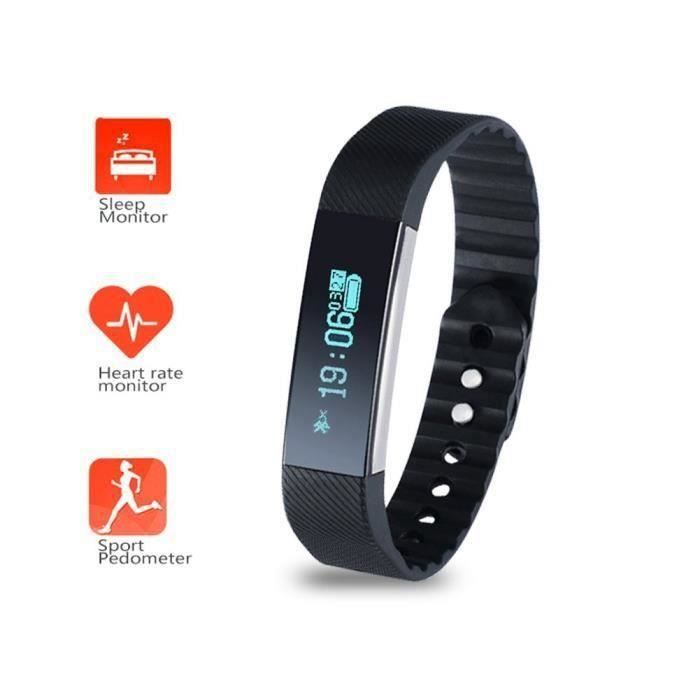 Smart Bluetooth Wristband Podomètre Smart Bracelet Heart Rate Monitor Sleep Monitor, montre de suivi d'activité étanche