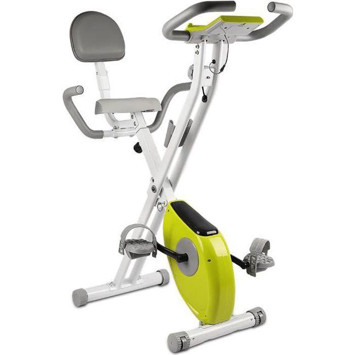 {Yeehoo} X-Bike Pliant Vélo d'appartement Pliable avec dossier - Écran LCD avec rythme cardiaque - Vélo d'Exercice d'Intérieur Vert