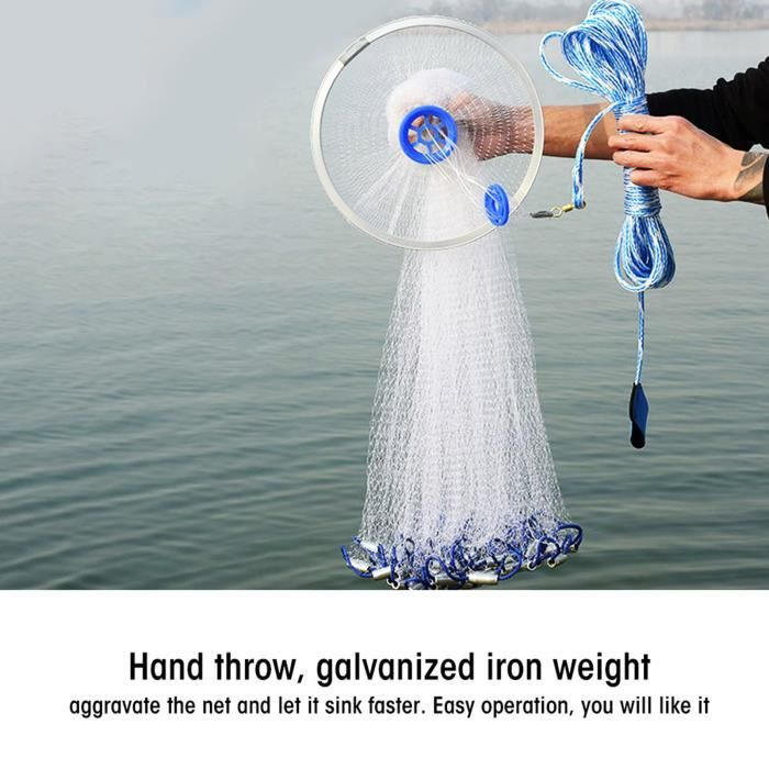 YOSOO filet de pêche à la main Filet de maille de pêche de jet de main de fonte de style américain de monofilament en nylon