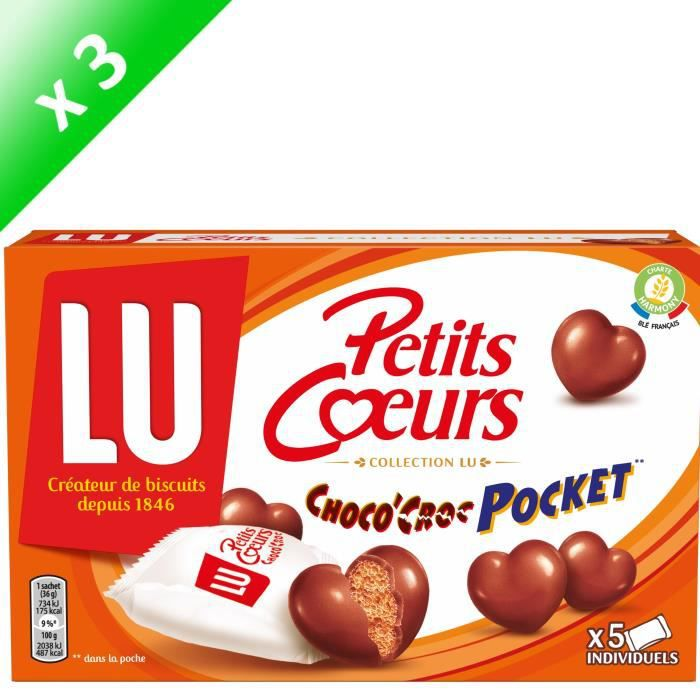 Lot de 3 LU Petits CŒurs Choco'Croc Pocket