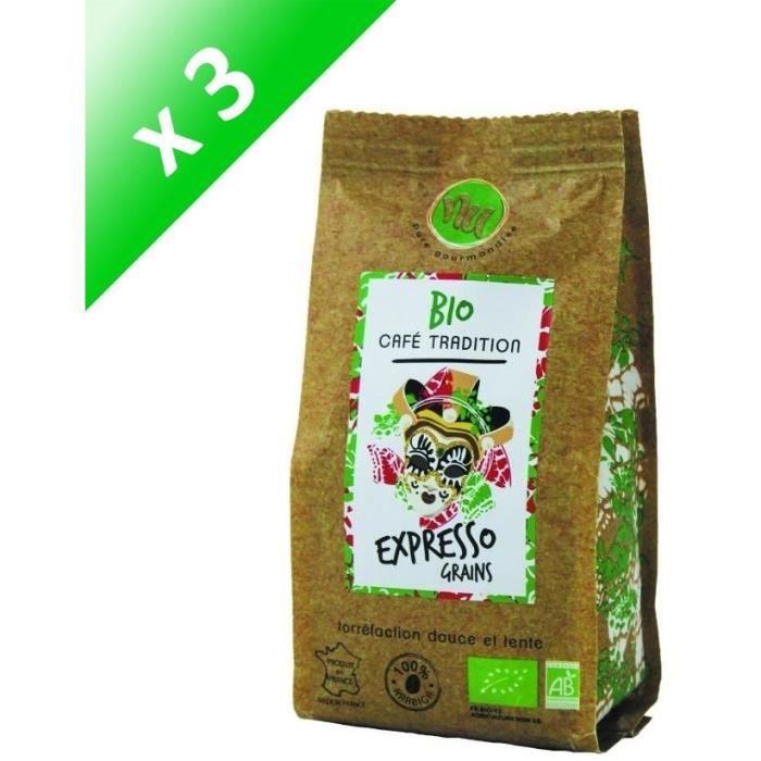 [LOT DE 3] NU Café Bio Expresso Italien Grain Sachet 125g
