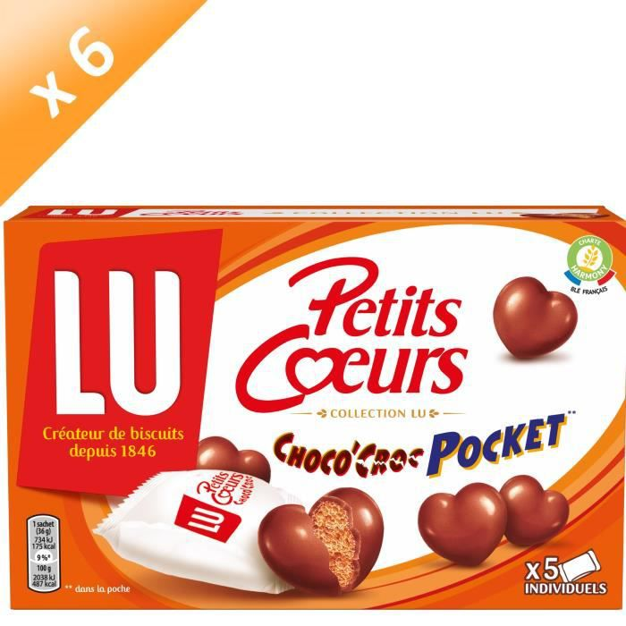 Lot de 6 LU Petits CŒurs Choco'Croc Pocket